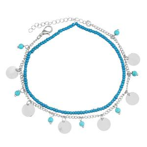 Faux Turquoise Beads Anklet