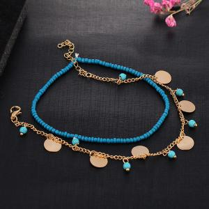 Faux Turquoise Perles Anklet - Or