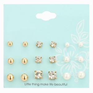 Faux Pearl Rhinestone Stud Earrings Set - Golden - One-size