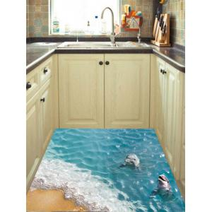 Removable 3D Beach Dolphin Floor Sticker - Blue - 60*90cm