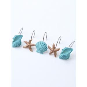 12 Pcs Seashell Shower Curtain Resin Hooks - Lake Blue - 180*180cm