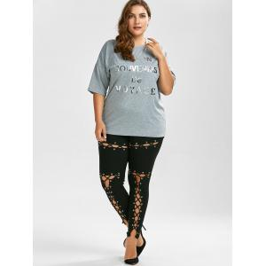 Lace Up Plus Size Skinny High Waisted Pants - BLACK 5XL