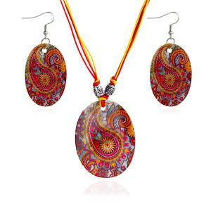 Ethnic Totem Pattern Oval Shape Jewelry Set - Red