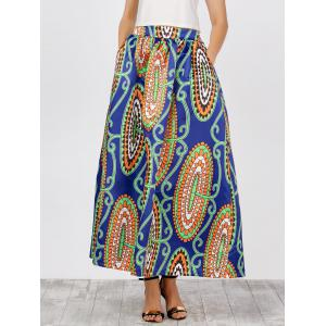 Printed High Waist African Skirts with Pockets