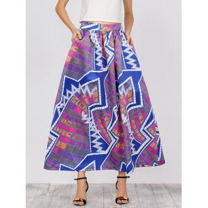 Printed High Waist African Skirts with Pockets - Blue And Pink - S