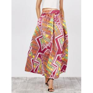 Printed High Waist African Skirts with Pockets - Yellow And Red - Xl