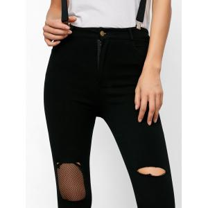 Zipper Fly Ripped Fishnet Skinny Cropped Jeans -