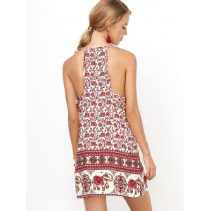 Floral Mini Backless Slip Summer Dress - RED S