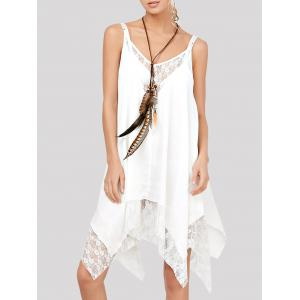 Lace Trim Chiffon Handkerchief Flowing Dress - White - S