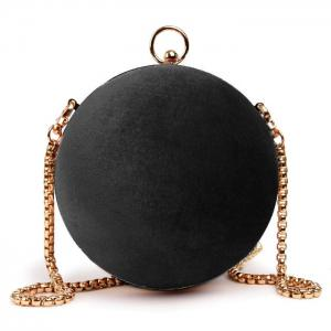 Velvet Ball Shaped Across Body Bag - Black