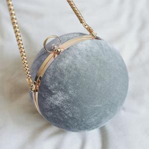 Velvet Ball Shaped Across Body Bag -