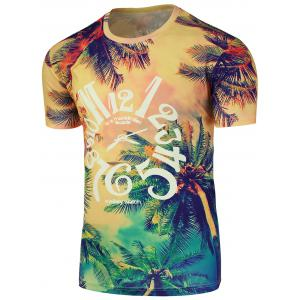 Tropical 3D Print Graphic Crew Neck T-Shirt