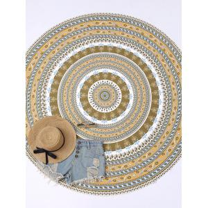Round Floral Print Beach Cover Throw - Earthy - One Size