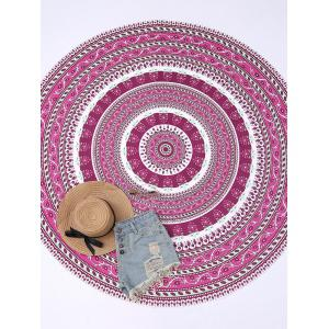 Round Floral Print Beach Cover Throw - Purplish Red - One Size