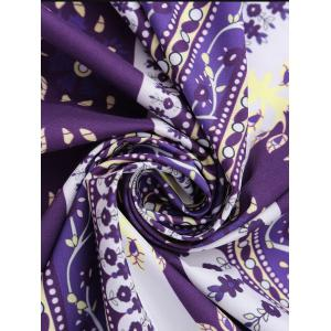 Round Floral Print Beach Cover Throw - PURPLE ONE SIZE