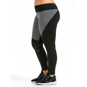 Colorblock Plus Size Workout Leggings - Black - 3xl