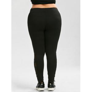 Plus Size Mesh Insert Exercise Leggings -