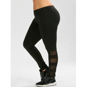 Plus Size Mesh Insert Exercise Leggings