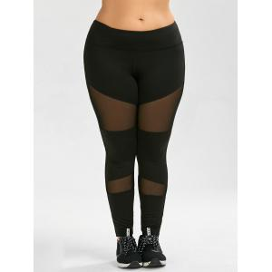 Plus Size Ninth Mesh Panel Leggings -
