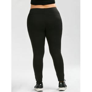 Plus Size Ninth Mesh Panel Leggings - BLACK 5XL