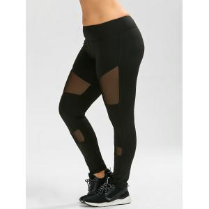 Plus Size Ninth Mesh Panel Leggings