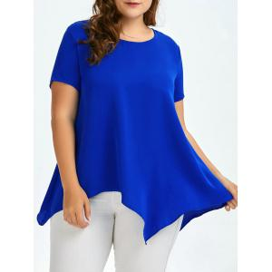 Plus Size Round Neck  Asymmetric Chiffon Blouse