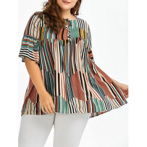 Plus Size Front Tie Striped Smock Top