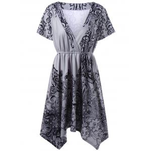 Graphic Asymmetric Plus Size Surplice Dress