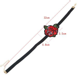 Embroidery Rose Flower Choker Necklace -