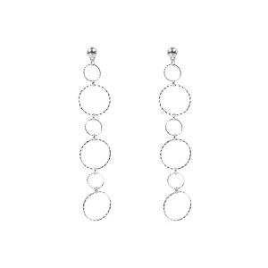 Alloy Bead Circle Drop Earrings