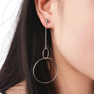 Alloy Bead Drop Hoop Chain Earrings - Silver