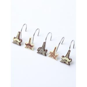 12 Pcs Resin Mustache Tower Shower Curtain Hooks -