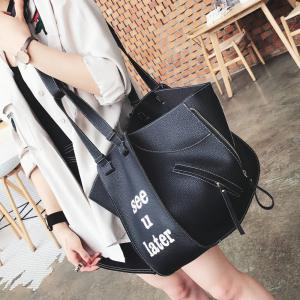 Asymmetrical Shoulder Bag with Pouch Bag - BLACK