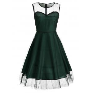 Sleeveless Mesh Panel A Line Vintage Dress