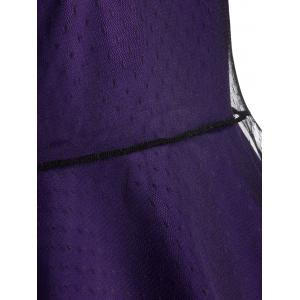 Sleeveless Mesh Panel A Line Vintage Dress - PURPLE 2XL