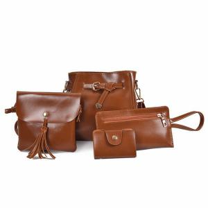 4 Pieces Faux Leather Crossbody Bag Set - Brown - 39