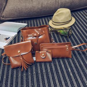 4 Pieces Faux Leather Crossbody Bag Set -