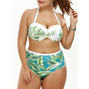Tropical Palm Leaf Print Plus Size Halter Top Bikini Swimwear