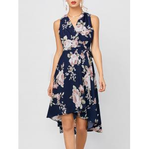 Sleeveless High Low Floral Print Swing Wrap Dress - Deep Blue - Xl