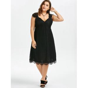 Plus Size Eyelash A Line Midi Lace Retro Dress - BLACK 5XL