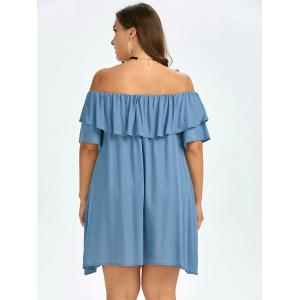 Plus Size Ruffled Off The Shoulder Swing Dress - AZURE ONE SIZE