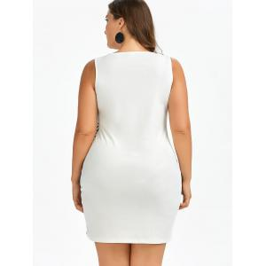 Bodycon Plant and Striped Plus Size Tank Dress - WHITE AND BLACK 5XL