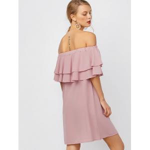 Flounce Off Shoulder Chiffon Casual Short Dress with Sleeves - PINK L