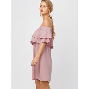 Flounce Off Shoulder Chiffon Casual Short Dress with Sleeves - PINK XL