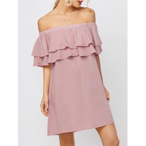 Flounce Off Shoulder Chiffon Casual Short Dress with Sleeves - Pink - Xl