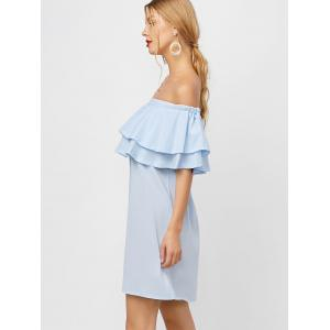 Flounce Off Shoulder Chiffon Casual Short Dress with Sleeves - LIGHT BLUE L