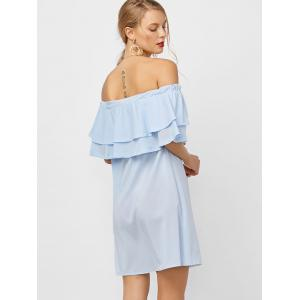 Flounce Off Shoulder Chiffon Casual Short Dress with Sleeves - LIGHT BLUE S