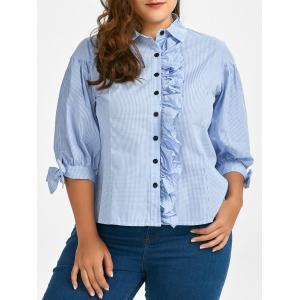 Plus Size Button Up Stripe Ruffle Shirt