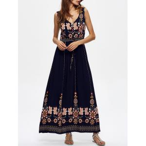 Ankle Length Floral V Neck Maxi Swing Dress - PURPLISH BLUE L