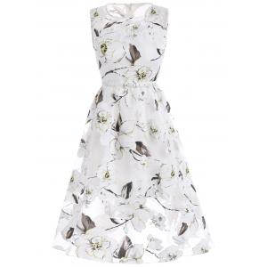 Belted Floral Print Organza Dress - WHITE M